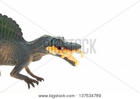 side view grey spinosaurus toy catching a smaller disonaur on white background close up