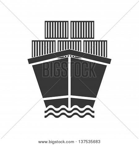 Delivery and Shipping concept represented by ship and containers icon. isolated and flat illustration