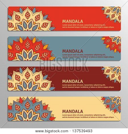 Colorful set of ornamental banners with flower mandala in red beige blue vinous colors. Vintage decorative elements. Vector illustration.