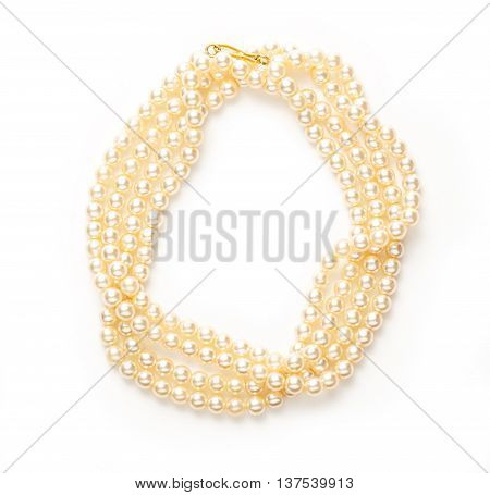 White Pearl Necklace Of Many Strings