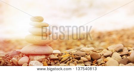 Seashore Background With Stones