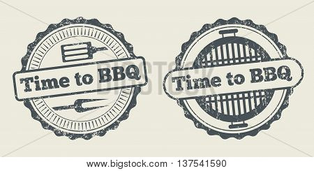 Barbecue and grill label steak house restaurant menu design vector element. Stamp barbecue and badge for barbecue menu illustration