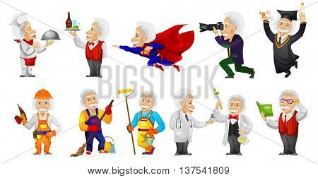 Vector set of gray-haired old man wearing uniforms of different professions such as chef, waiter, super hero, carpenter, cleaner, painter, doctor. Vector illustration isolated on white background.