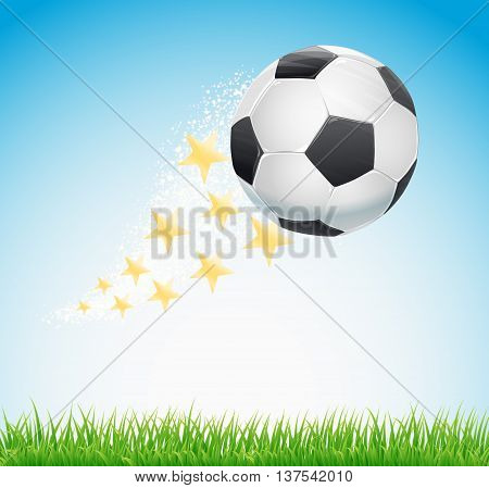 soccer ball flying over sky with stars trail and green grass background. vector illustration