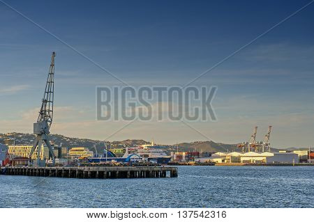 Wellington, New Zealand - March 3 2016: Ferry pier at Wellington waterfront, north island of New Zealand
