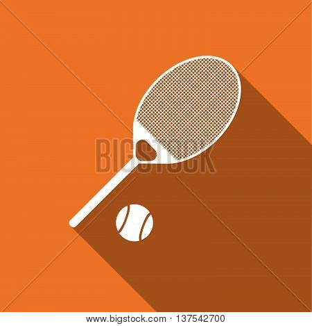 Equipment For Sports. Flat Sports Objects For Tennis. Isolated Tennis Racquet With Ball. Vector Illu