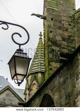 Details of an ancient Saint Malo Cathedral. Saint Malo, Brittany, France. Selective focus