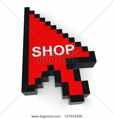 Online Shopping Pixelated Arrow Cursor with Shop Text 3D Illustration