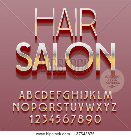 Set of slim reflective alphabet letters, numbers and punctuation symbols. Vector platinum logo with text Hair salon. File contains graphic styles