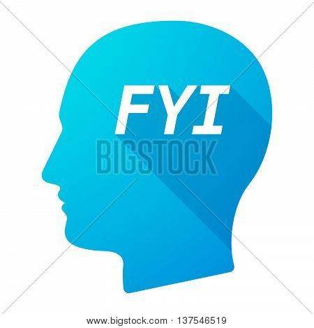 Isolated Long Shadow Male Head With    The Text Fyi