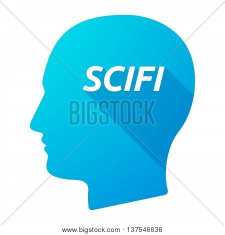 Isolated Long Shadow Male Head With    The Text Scifi