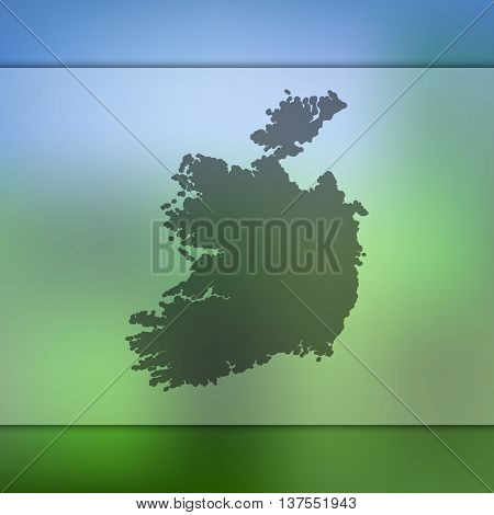 Ireland map on blurred background. Blurred background with silhouette of Ireland. Ireland.