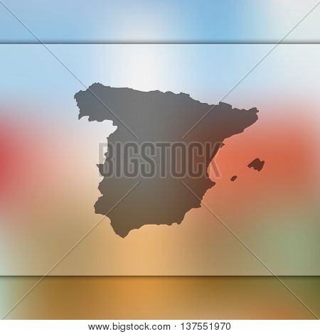 Spain map on blurred background. Blurred background with silhouette of Spain. Spain. Spain map.