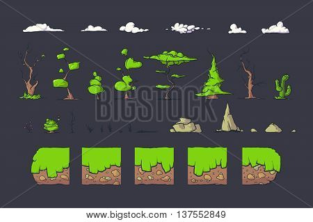 Tile set for Platformer or Adventure Game, Seamless vector ground blocks for games design. Trees, clouds and rocks. The perfect combination with each other.