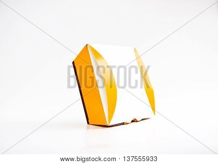 paper yellow and white box on white background