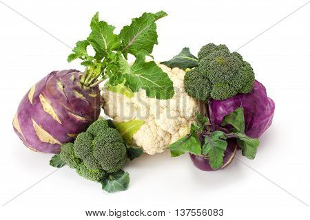 fresh ripe cabbage isolated on white background.