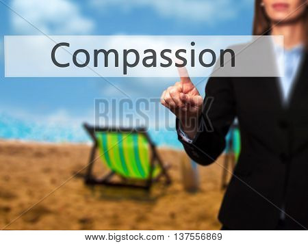 Compassion - Successful Businesswoman Making Use Of Innovative Technologies And Finger Pressing Butt