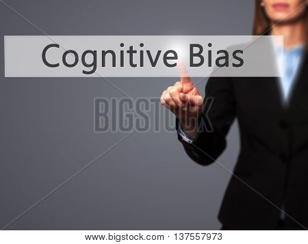 Cognitive Bias - Successful Businesswoman Making Use Of Innovative Technologies And Finger Pressing