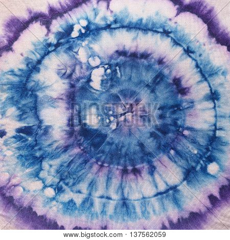 Blue And Violet Concentric Circles On Silk Batik