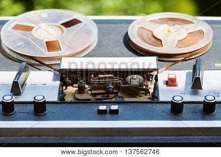 Vintage Reel-to-reel Recorder Outdoors