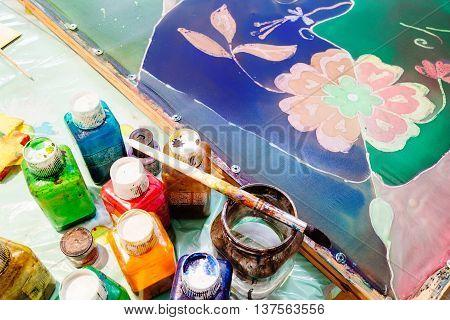 Wax Paints, Brush And Painted Silk Batik