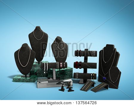 Stand For Jewelry In The Jewelry Display Cases 3D Illustration On Gradient