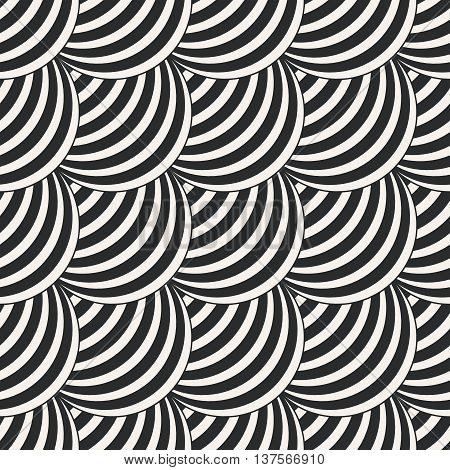 Art deco seamless pattern. Modern stylish texture. Repeating geometrical shapes arched scales arcs. Vector element of graphic design. Vector abstract seamless background