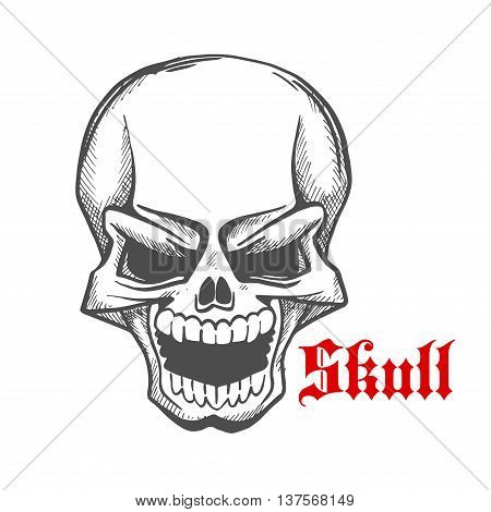 Laughing demon or vampire sketch symbol of monstrous skull with eerie smile showing sharp fangs. Vintage engraving skeleton for t-shirt print or tattoo design usage