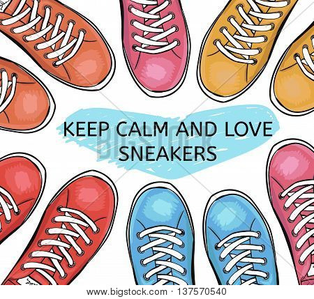 Summer trendy sports shoes. Collection of colorful sneakers. I love sneakers. Vector illustration