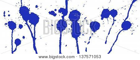Blue ink splash. Paint splatter. Blue blots on white. Ink stains. Ink Splatter Background. Blue and white vector illustration. Ink stains and strokes. Abstract background. Grunge vector template.