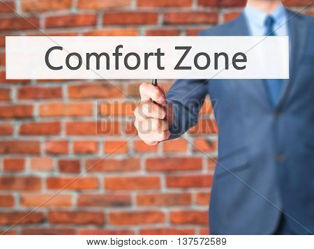 Comfort Zone - Business Man Showing Sign