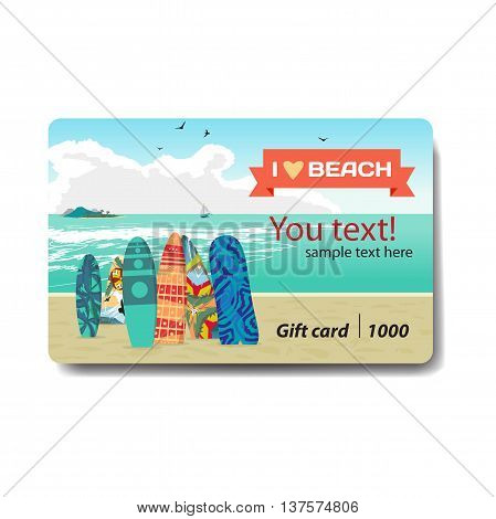 Sea landscape summer beach surfboards stuck in the sand. Sale discount gift card. Branding design for surfboard shop