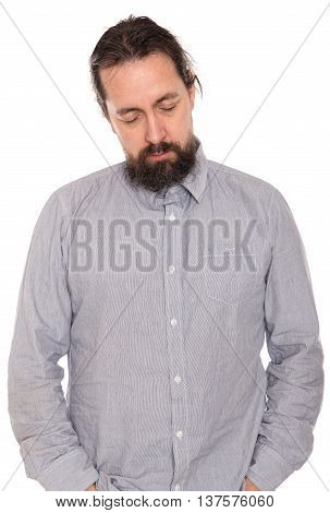 a man is sleeping standing up, isolated on white