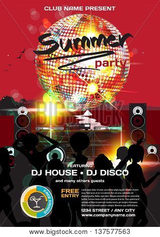 Vector summer party invitation disco style. Night beach dj women disco ball template posters or flyers.