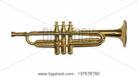 Brass golden trumpet isolated on a white background
