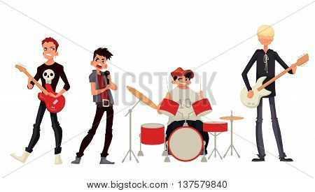 Cartoon rock group musicians vector illustration isolated on white background. Rock star singer guitarist drummer solo guitarist bassist. Isolated vector rock band musicians