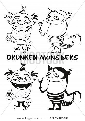 Set of Funny Drunken Cartoon Monsters with Alcohol Drinks, Black Contour and Silhouette Characters in Holiday Caps, Smiling and Dancing, Elements for your Party Design, Isolated on White. Vector