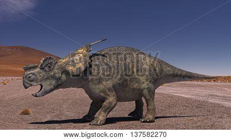3D Computer rendering illustration of Achelousaus in desert