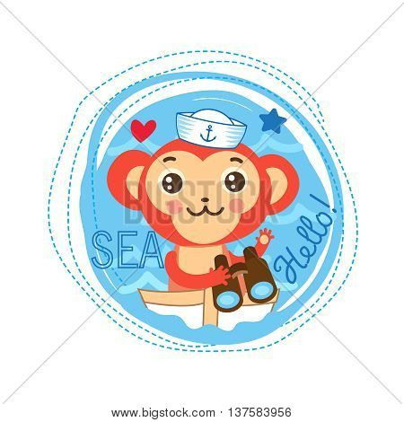 Cute Monkey Sailor Vector Illustration. Sea Theme Cartoon Vector. Cute Picture For Kids T-Shirt . Sailor Monkey On The Boat. Monkey Sailor Baby Gift.