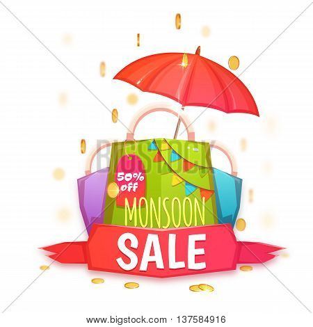 Monsoon sale banner with color packet and coins. Vector illustration.