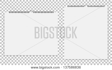 Realistic Sheets Of Paper With Spiral On A Isolated Background