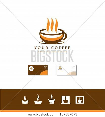 Vector company logo icon element template hot brown coffee cup shop set