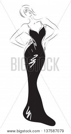 Beautiful Woman with Long Black Cocktail Dress