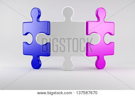 3d illustration Puzzle pieces symbolize a couple in marriage counseling