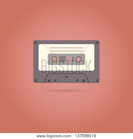 Cassette flat style icon on red background, flat design. Vector illustration.