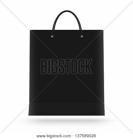 Blank paper bag mock up isolated 3d illustration. Black clear magazine packet mockup ready for logo design presentation. Bundle supermarket template. Empty shopping carrier bag concept. Clean pack store layout.