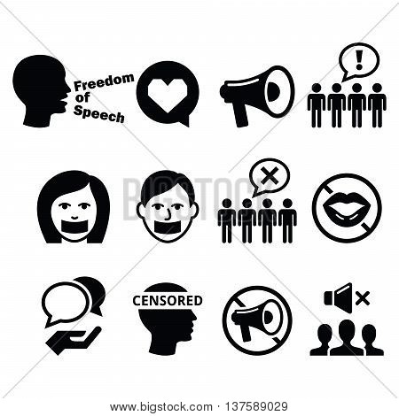 Freedom of speech, human rights, freedom of expression, censorship concept - vector icons set