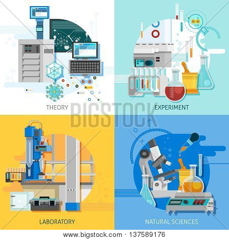 Science laboratory 2x2 design concept with highly technological equipment for theoretical research and practical experiment flat vector illustration