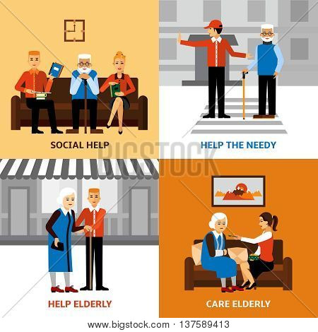 Volunteers 2x2 design concept with young people helping elderly needy in medical and social care flat vector illustration