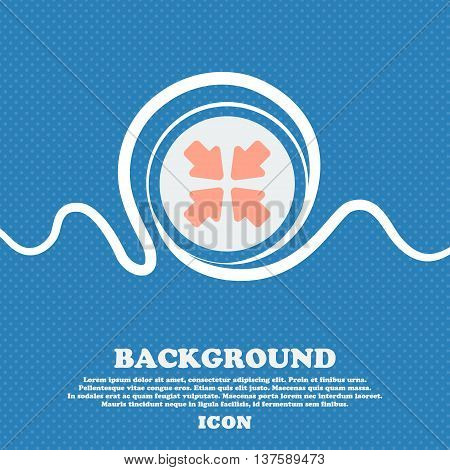 Turn To Full Screen  Sign Icon. Blue And White Abstract Background Flecked With Space For Text And Y